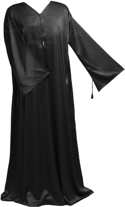 (Black elegance silk Abayah from Sunnah Style)