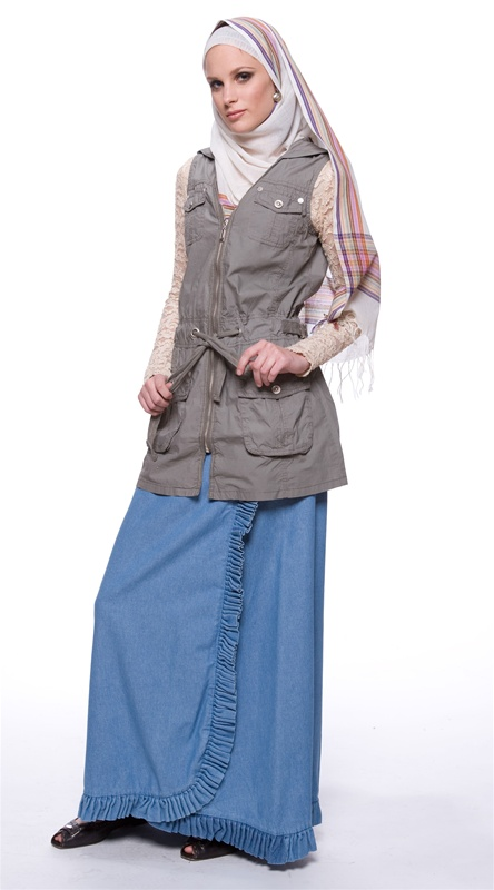 (Ensemble with Soft Blue Full Length Denim Ruffled Skirt - Artizara.com)